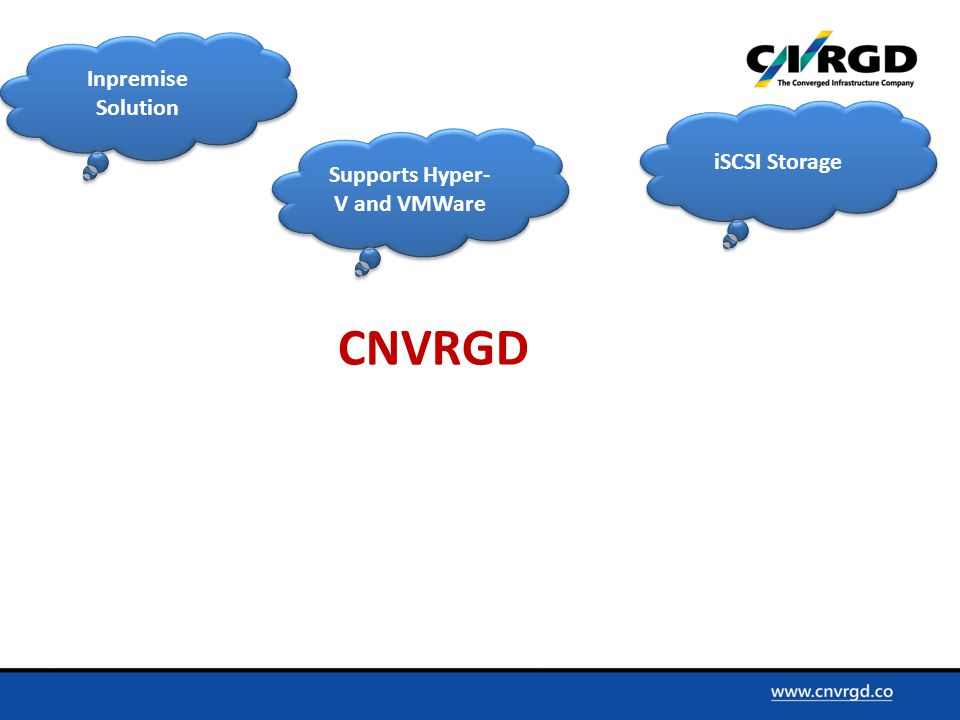 Inpremise Solution iSCSI Storage Supports Hyper- V and VMWare CNVRGD