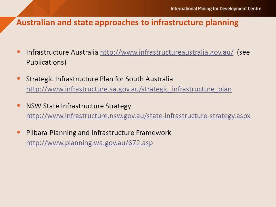 Infrastructure Australia http://www.infrastructureaustralia.gov.au/ (see Publications)http://www.infrastructureaustralia.gov.au/ Strategic Infrastructure Plan for South Australia http://www.infrastructure.sa.gov.au/strategic_infrastructure_plan http://www.infrastructure.sa.gov.au/strategic_infrastructure_plan NSW State Infrastructure Strategy http://www.infrastructure.nsw.gov.au/state-infrastructure-strategy.aspx http://www.infrastructure.nsw.gov.au/state-infrastructure-strategy.aspx Pilbara Planning and Infrastructure Framework http://www.planning.wa.gov.au/672.asp http://www.planning.wa.gov.au/672.asp Australian and state approaches to infrastructure planning