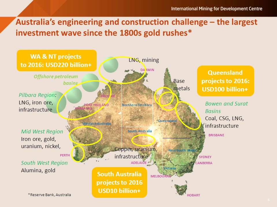 Australia's engineering and construction challenge – the largest investment wave since the 1800s gold rushes* HOBART Western Australia Northern Territory South Australia Queensland New South Wales Victoria SYDNEY CANBERRA MELBOURNE BRISBANE ADELAIDE DARWIN BROOME PERTH Offshore petroleum basins WA & NT projects to 2016: USD220 billion+ Queensland projects to 2016: USD100 billion+ South West Region Alumina, gold Mid West Region Iron ore, gold, uranium, nickel, Pilbara Region: LNG, iron ore, infrastructure LNG, mining Base metals Bowen and Surat Basins Coal, CSG, LNG, infrastructure South Australia projects to 2016 USD10 billion+ 5 *Reserve Bank, Australia Copper, uranium, infrastructure PORT HEDLAND KARRATHA