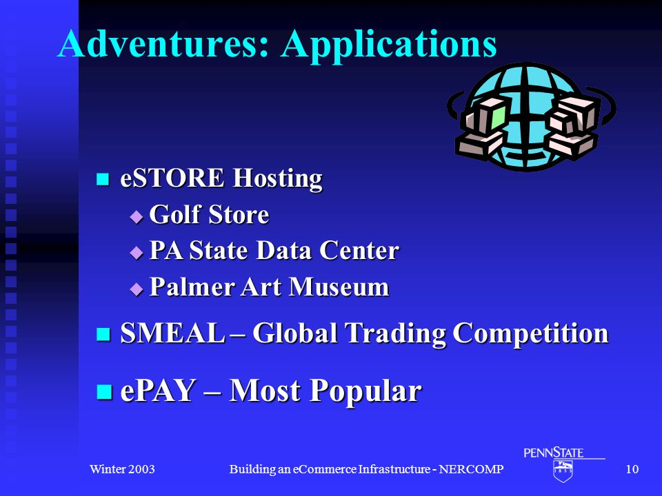 Winter 2003Building an eCommerce Infrastructure - NERCOMP10 Adventures: Applications SMEAL – Global Trading Competition SMEAL – Global Trading Competition ePAY – Most Popular ePAY – Most Popular eSTORE Hosting eSTORE Hosting  Golf Store  PA State Data Center  Palmer Art Museum
