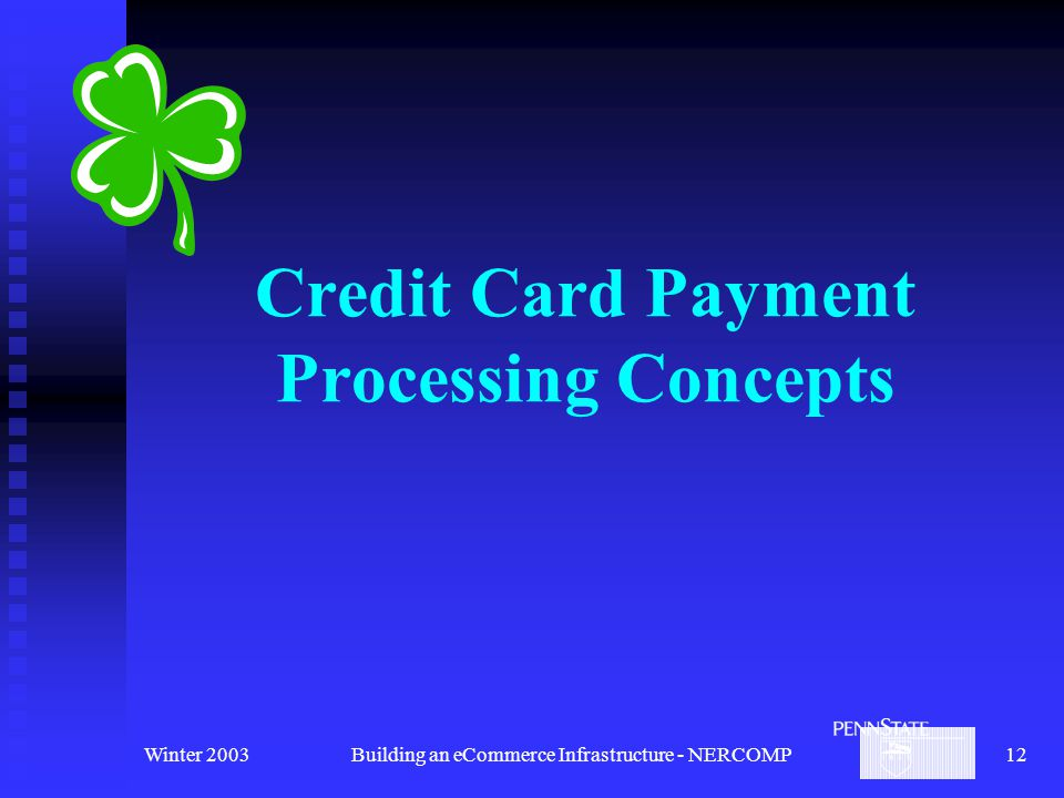 Winter 2003Building an eCommerce Infrastructure - NERCOMP12 Credit Card Payment Processing Concepts