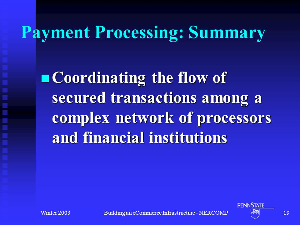 Winter 2003Building an eCommerce Infrastructure - NERCOMP19 Payment Processing: Summary Coordinating the flow of secured transactions among a complex network of processors and financial institutions Coordinating the flow of secured transactions among a complex network of processors and financial institutions