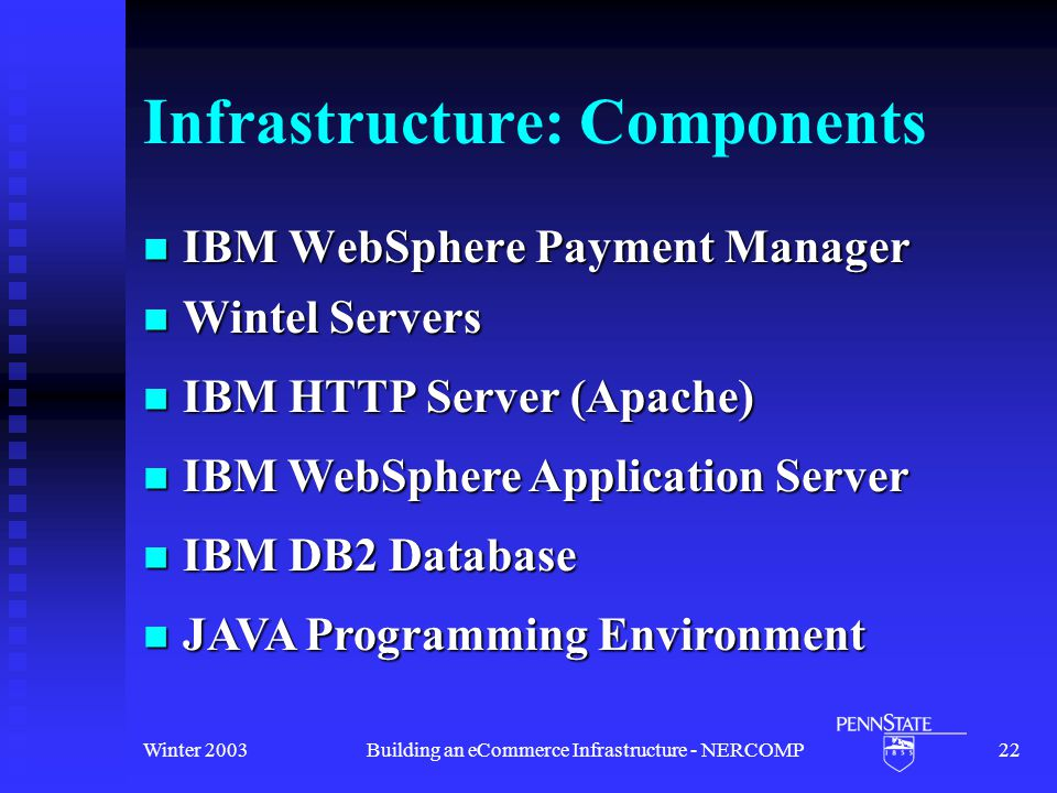 Winter 2003Building an eCommerce Infrastructure - NERCOMP22 Infrastructure: Components IBM WebSphere Payment Manager IBM WebSphere Payment Manager Wintel Servers Wintel Servers IBM HTTP Server (Apache) IBM HTTP Server (Apache) IBM WebSphere Application Server IBM WebSphere Application Server IBM DB2 Database IBM DB2 Database JAVA Programming Environment JAVA Programming Environment