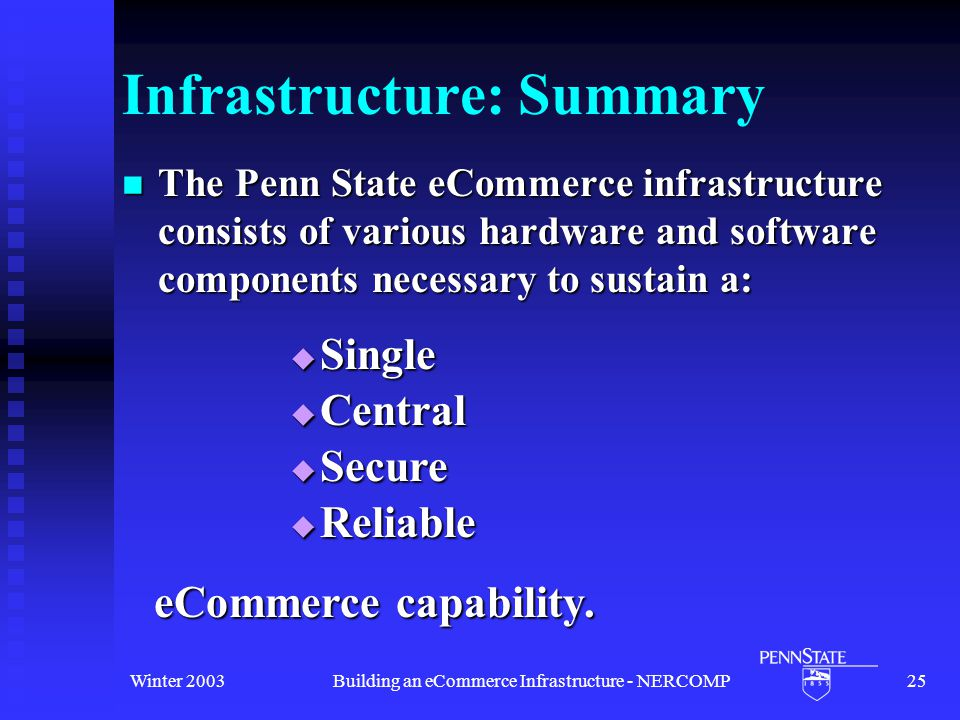 Winter 2003Building an eCommerce Infrastructure - NERCOMP25 Infrastructure: Summary The Penn State eCommerce infrastructure consists of various hardware and software components necessary to sustain a: The Penn State eCommerce infrastructure consists of various hardware and software components necessary to sustain a:  Central  Single  Secure  Reliable eCommerce capability.