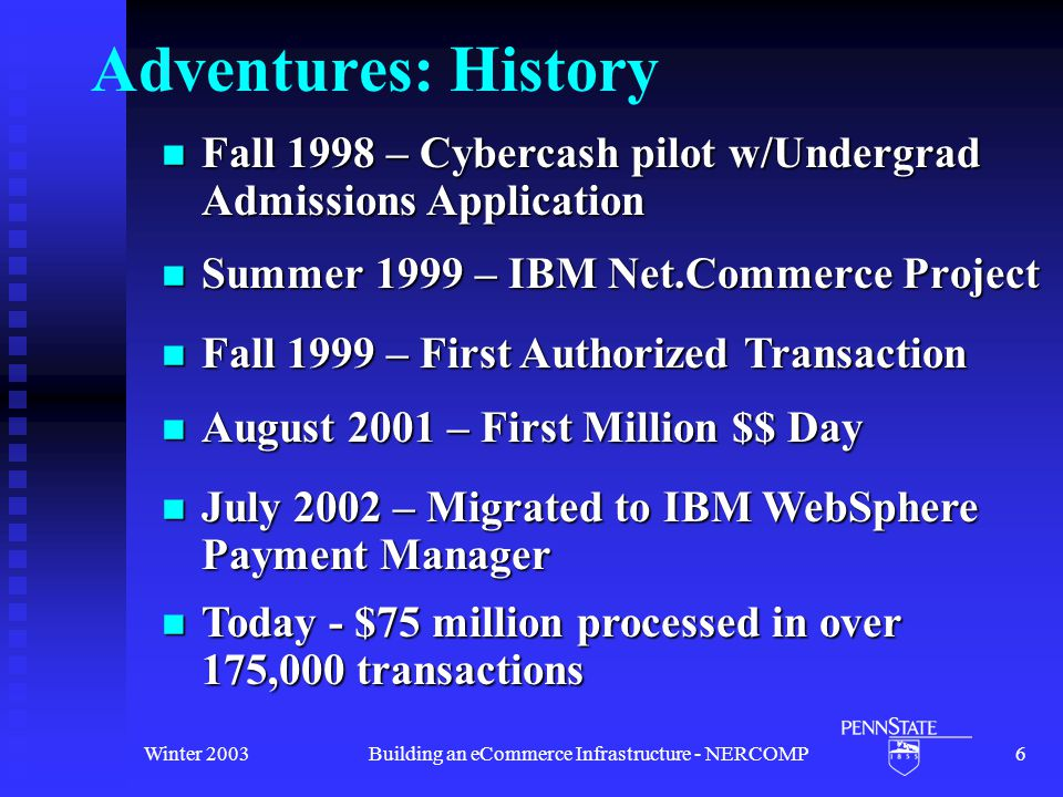 Winter 2003Building an eCommerce Infrastructure - NERCOMP6 Adventures: History Summer 1999 – IBM Net.Commerce Project Summer 1999 – IBM Net.Commerce Project August 2001 – First Million $$ Day August 2001 – First Million $$ Day Fall 1998 – Cybercash pilot w/Undergrad Admissions Application Fall 1998 – Cybercash pilot w/Undergrad Admissions Application July 2002 – Migrated to IBM WebSphere Payment Manager July 2002 – Migrated to IBM WebSphere Payment Manager Today - $75 million processed in over 175,000 transactions Today - $75 million processed in over 175,000 transactions Fall 1999 – First Authorized Transaction Fall 1999 – First Authorized Transaction