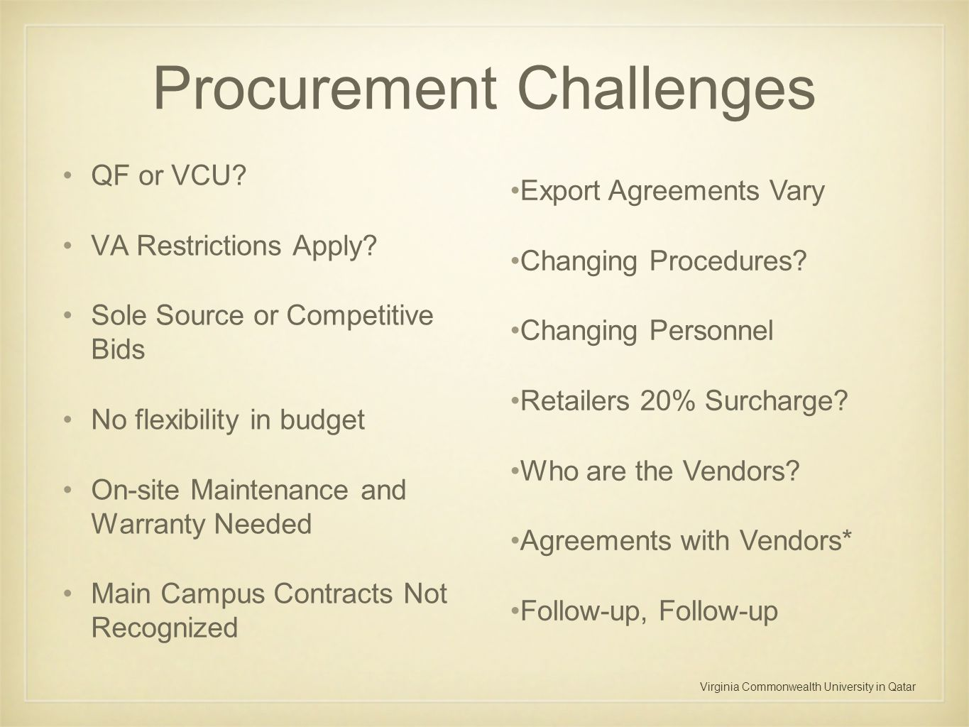 Virginia Commonwealth University in Qatar Procurement Challenges QF or VCU? VA Restrictions Apply? Sole Source or Competitive Bids No flexibility in b