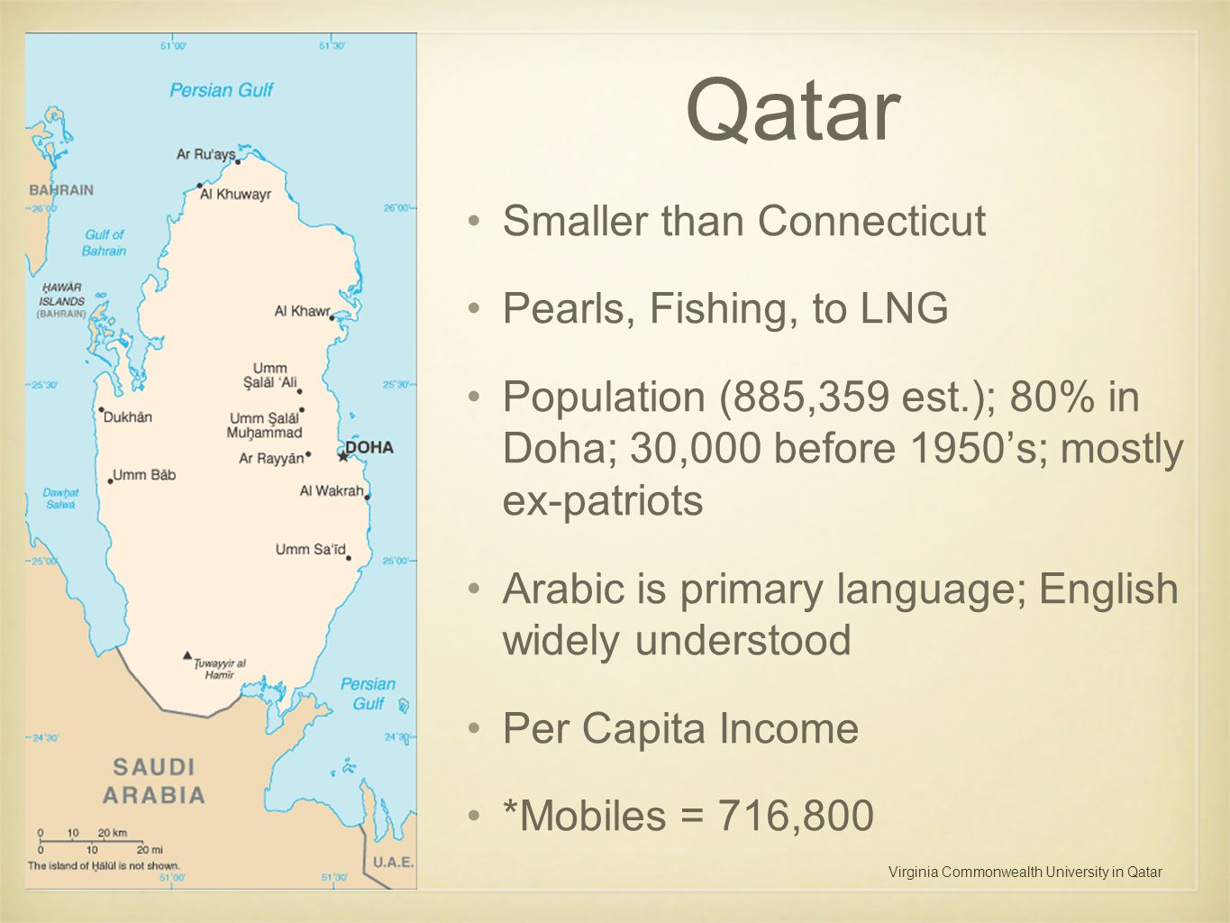 Virginia Commonwealth University in Qatar Qatar Smaller than Connecticut Pearls, Fishing, to LNG Population (885,359 est.); 80% in Doha; 30,000 before