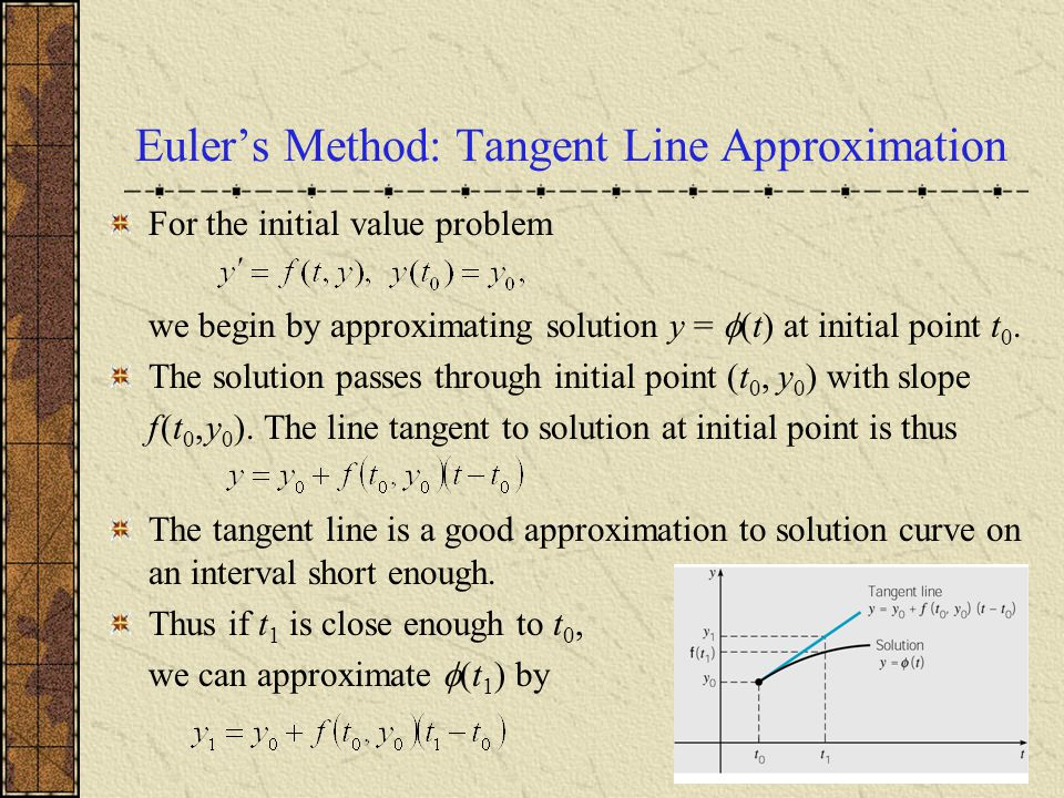 Euler's Method: Tangent Line Approximation For the initial value problem we begin by approximating solution y =  (t) at initial point t 0. The soluti