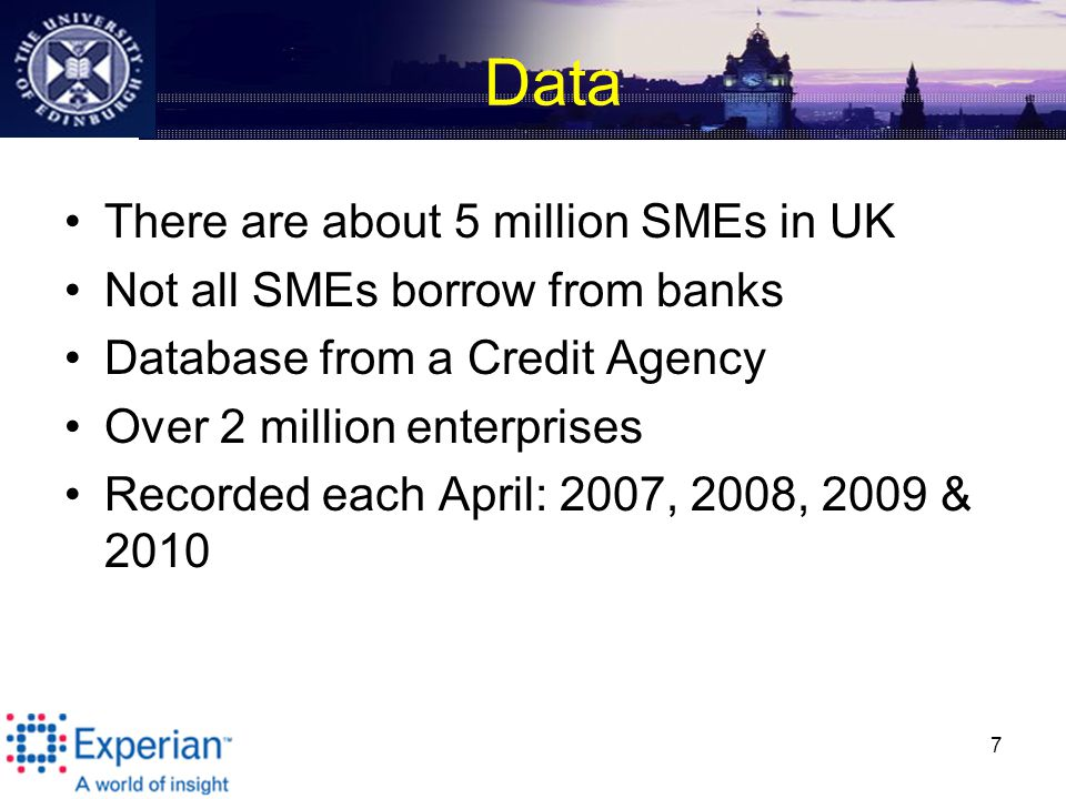 Data There are about 5 million SMEs in UK Not all SMEs borrow from banks Database from a Credit Agency Over 2 million enterprises Recorded each April: 2007, 2008, 2009 &