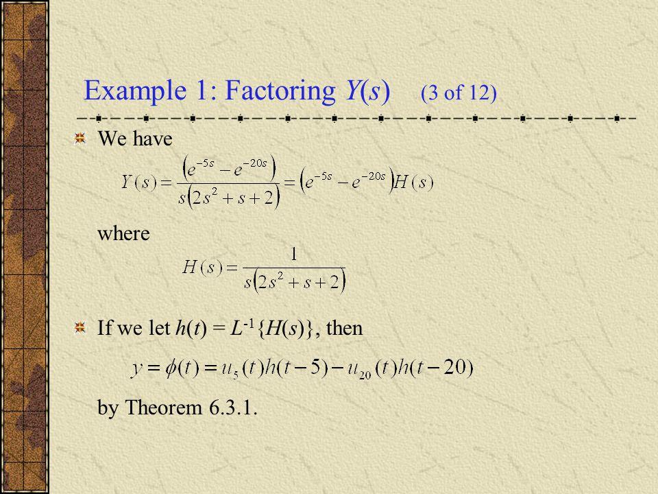 Thus we examine H(s), as follows.