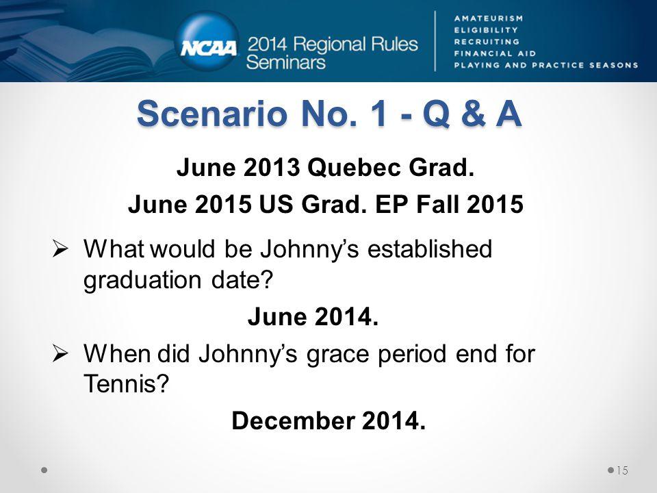 Scenario No. 1 - Q & A June 2013 Quebec Grad. June 2015 US Grad. EP Fall 2015  What would be Johnny's established graduation date? June 2014.  When