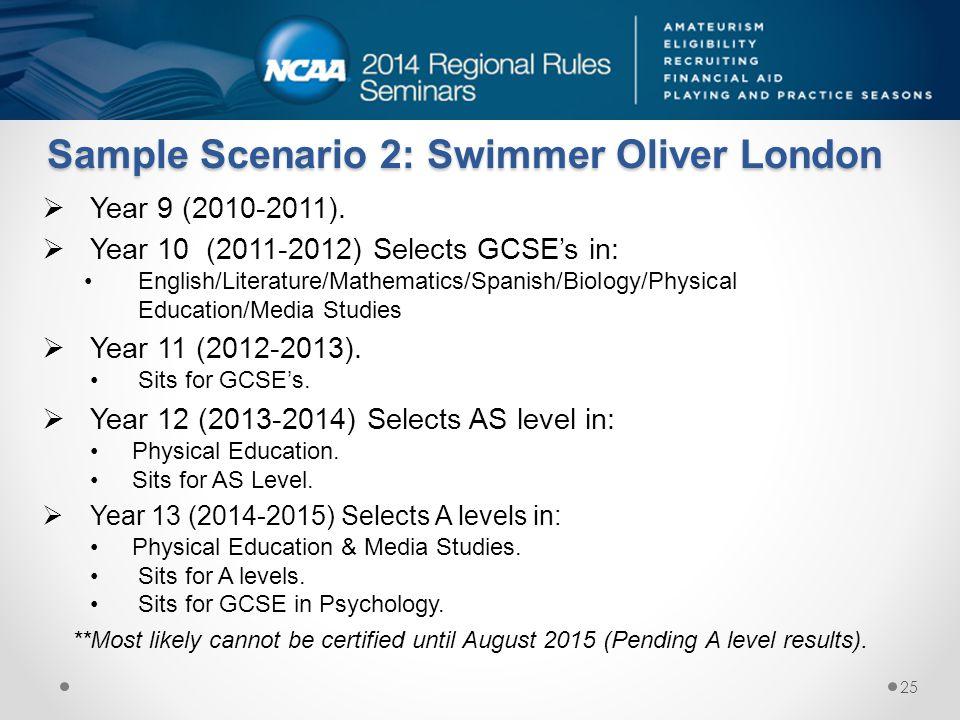 Sample Scenario 2: Swimmer Oliver London  Year 9 (2010-2011).  Year 10 (2011-2012) Selects GCSE's in: English/Literature/Mathematics/Spanish/Biology