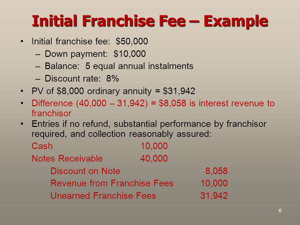 6 Initial Franchise Fee – Example Initial franchise fee: $50,000 –Down payment: $10,000 –Balance: 5 equal annual instalments –Discount rate: 8% PV of $8,000 ordinary annuity = $31,942 Difference (40,000 – 31,942) = $8,058 is interest revenue to franchisor Entries if no refund, substantial performance by franchisor required, and collection reasonably assured: Cash 10,000 Notes Receivable 40,000 Discount on Note 8,058 Revenue from Franchise Fees 10,000 Unearned Franchise Fees 31,942