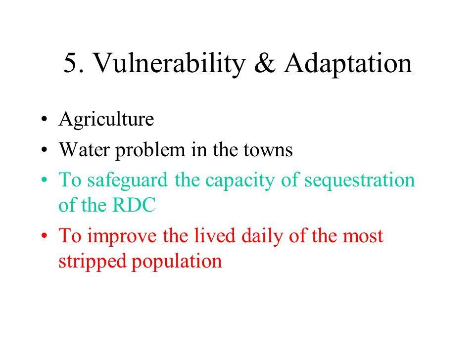 5. Vulnerability & Adaptation Agriculture Water problem in the towns To safeguard the capacity of sequestration of the RDC To improve the lived daily