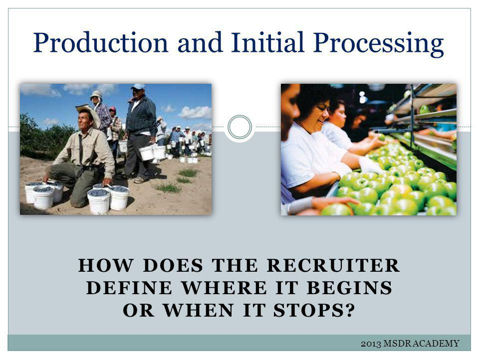 Agricultural Work Production or Initial Processing Dairy Products Trees Crops Poultry Livestock OR Cultivation or Harvesting 2013 MSDR ACADEMY