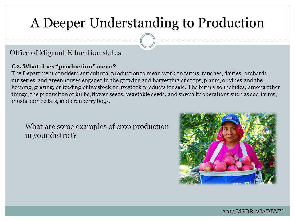 A Deeper Understanding to Production Office of Migrant Education states G2.