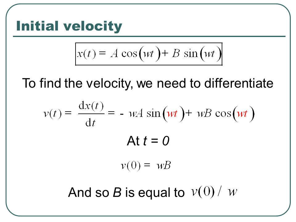 Initial velocity To find the velocity, we need to differentiate At t = 0 And so B is equal to