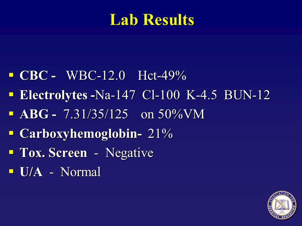 Lab Results  CBC - WBC-12.0 Hct-49%  Electrolytes -Na-147 Cl-100 K-4.5 BUN-12  ABG - 7.31/35/125 on 50%VM  Carboxyhemoglobin- 21%  Tox.