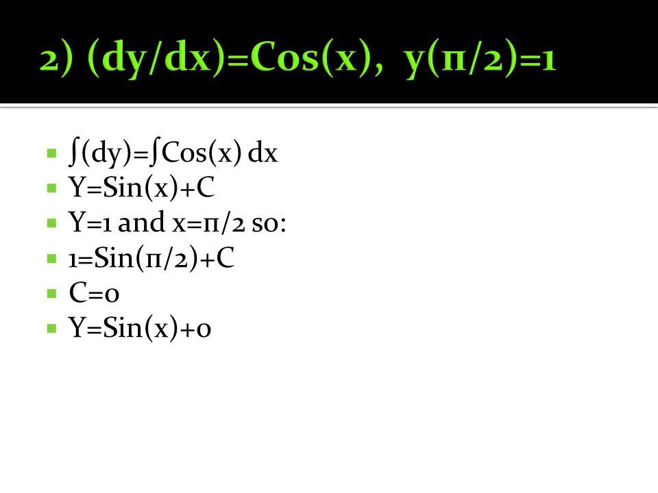  ∫(dy)=∫Cos(x) dx  Y=Sin(x)+C  Y=1 and x=п/2 so:  1=Sin(п/2)+C  C=0  Y=Sin(x)+0