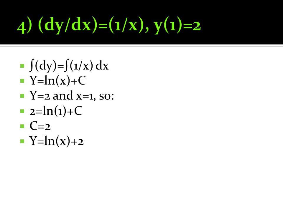  ∫(dy)=∫(1/x) dx  Y=ln(x)+C  Y=2 and x=1, so:  2=ln(1)+C  C=2  Y=ln(x)+2