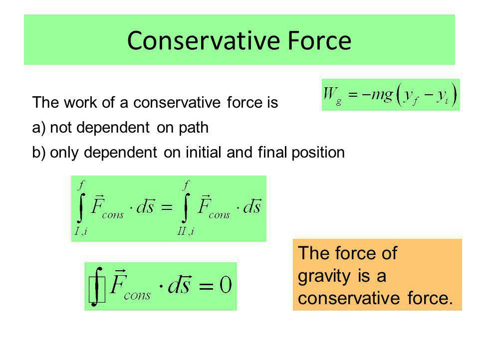 Examples for non-conservative forces Initial position Final position Initial position Final position Initial position Final position Initial position Final position Friction force Applied force of pushing or pulling
