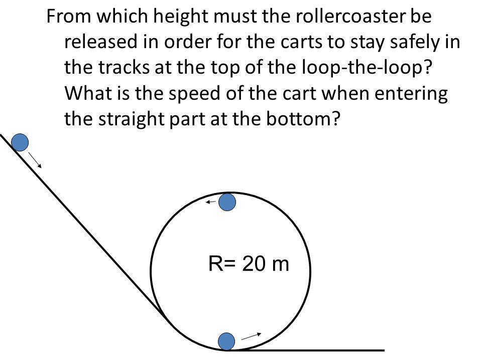 From which height must the rollercoaster be released in order for the carts to stay safely in the tracks at the top of the loop-the-loop? What is the