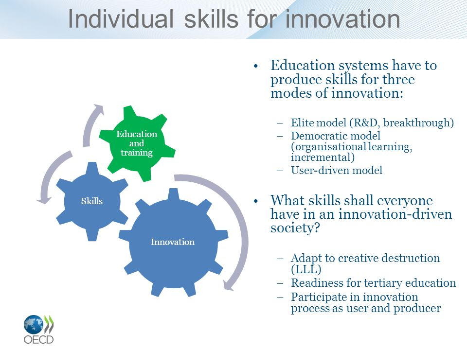 Individual skills for innovation Education systems have to produce skills for three modes of innovation: –Elite model (R&D, breakthrough) –Democratic