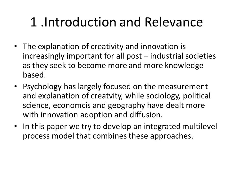 Research Questions Which Theories could be best used for the prediction of innovation and creativity.