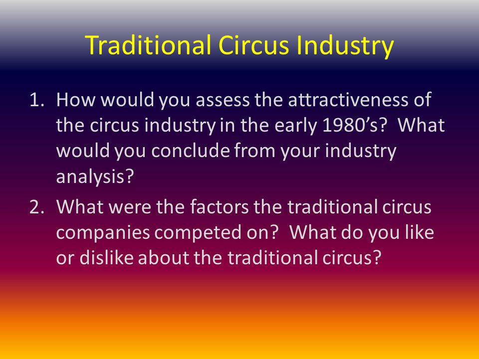 Traditional Circus Industry 1.How would you assess the attractiveness of the circus industry in the early 1980's.