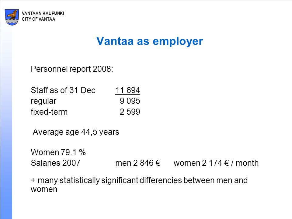 VANTAAN KAUPUNKI CITY OF VANTAA Vantaa as employer Personnel report 2008: Staff as of 31 Dec11 694 regular 9 095 fixed-term 2 599 Average age 44,5 years Women 79.1 % Salaries 2007men 2 846 €women 2 174 € / month + many statistically significant differencies between men and women