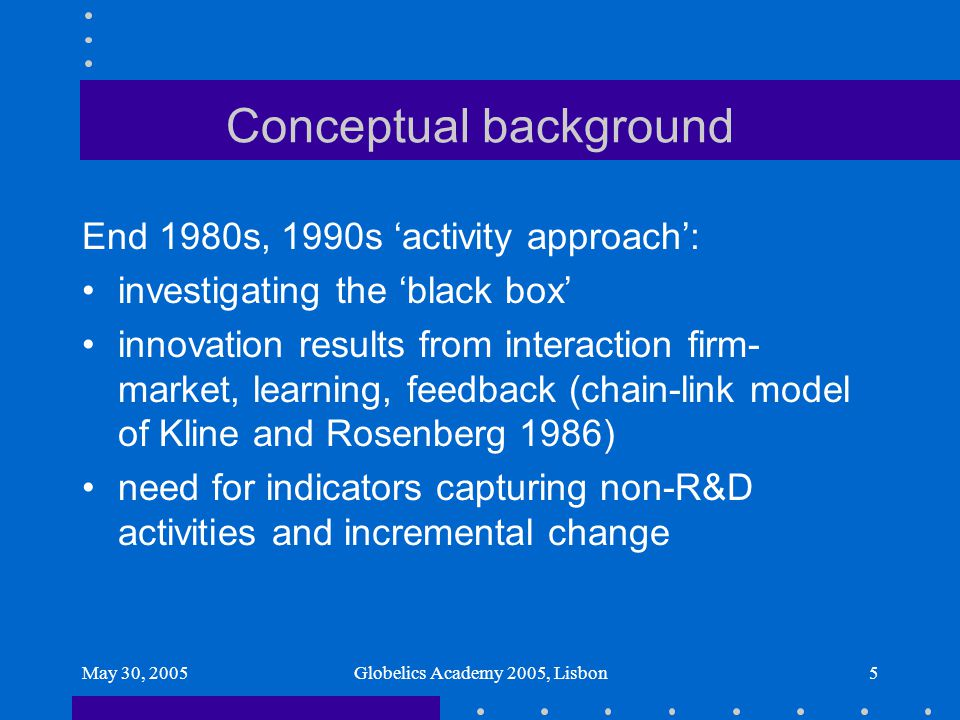 May 30, 2005Globelics Academy 2005, Lisbon5 Conceptual background End 1980s, 1990s 'activity approach': investigating the 'black box' innovation resul