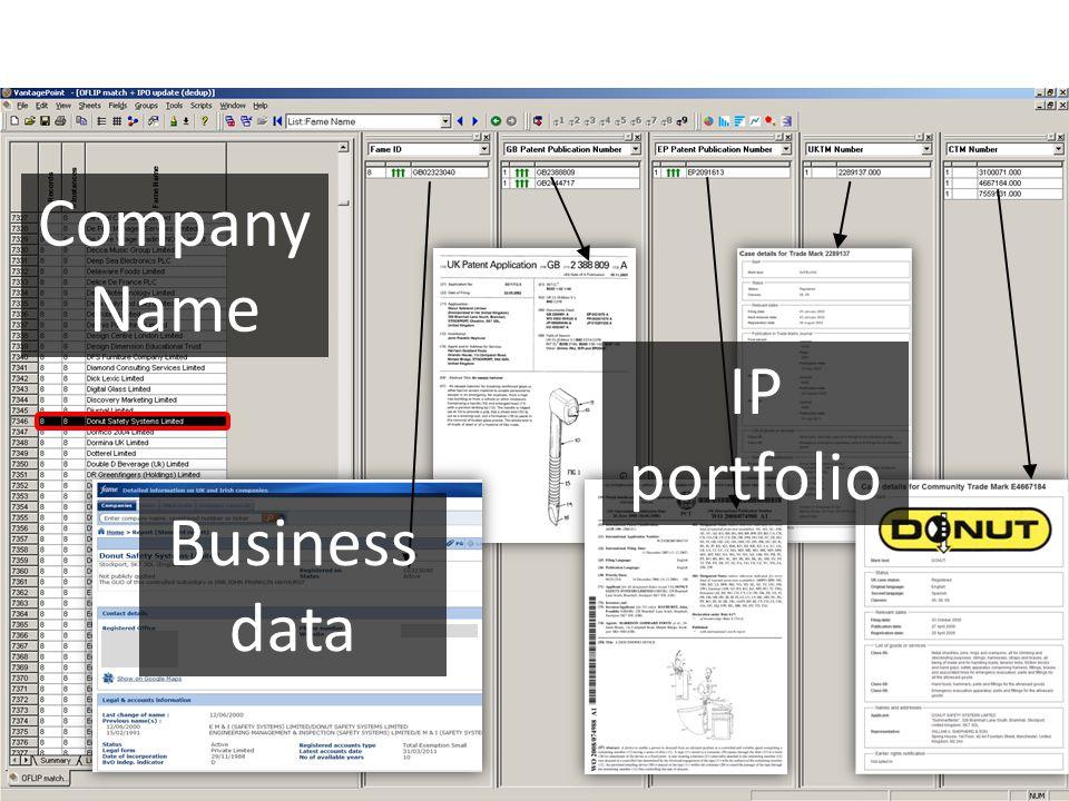 Company Name Business data IP portfolio