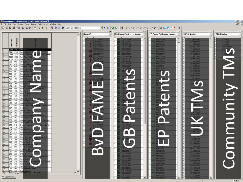 Company NameBvD FAME IDGB PatentsEP PatentsUK TMsCommunity TMs