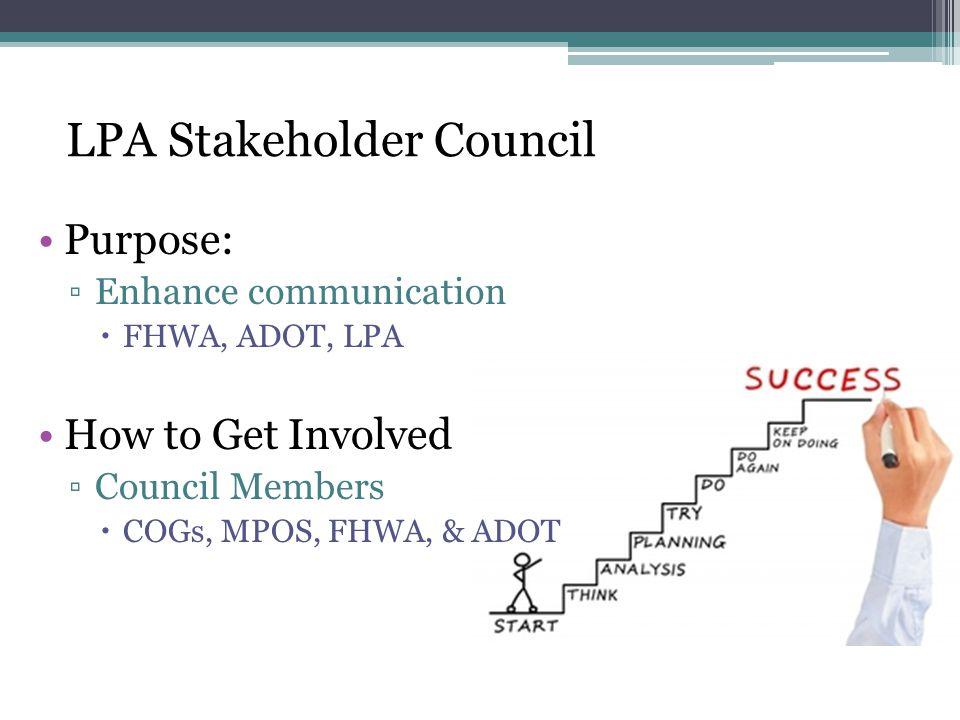 Purpose: ▫Enhance communication  FHWA, ADOT, LPA How to Get Involved ▫Council Members  COGs, MPOS, FHWA, & ADOT LPA Stakeholder Council
