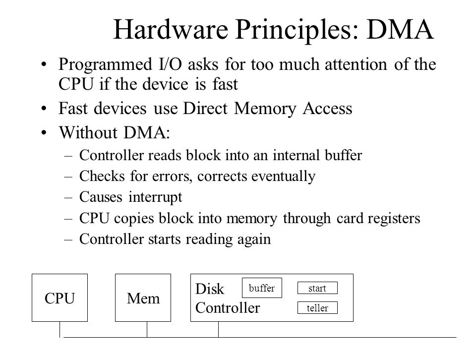 Hardware Principles: DMA Programmed I/O asks for too much attention of the CPU if the device is fast Fast devices use Direct Memory Access Without DMA