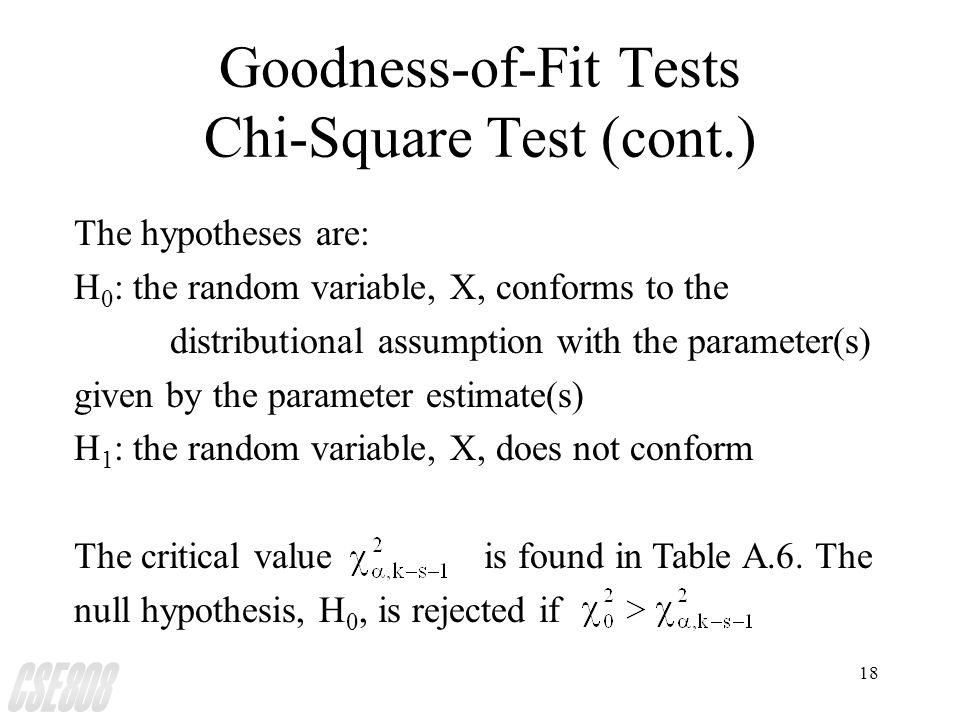 18 Goodness-of-Fit Tests Chi-Square Test (cont.) The hypotheses are: H 0 : the random variable, X, conforms to the distributional assumption with the parameter(s) given by the parameter estimate(s) H 1 : the random variable, X, does not conform The critical value  is found in Table A.6.