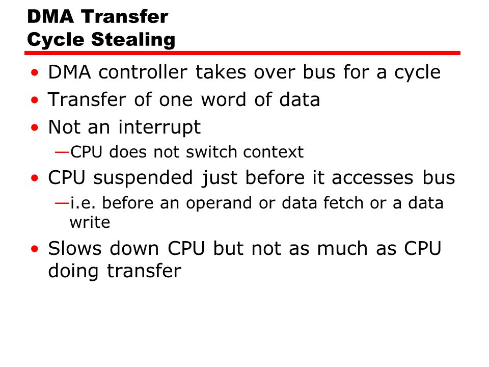 DMA Transfer Cycle Stealing DMA controller takes over bus for a cycle Transfer of one word of data Not an interrupt —CPU does not switch context CPU s