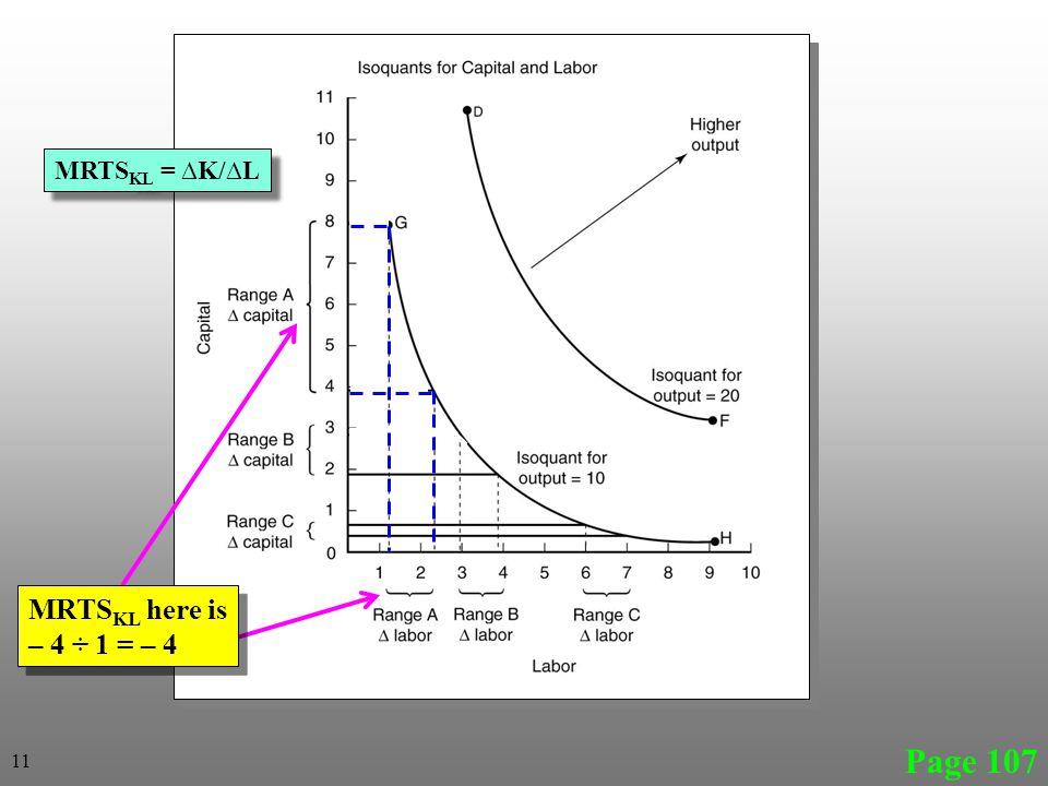 Page 107 MRTS KL here is – 4 ÷ 1 = – 4 MRTS KL here is – 4 ÷ 1 = – 4 11 MRTS KL = ∆K/∆L