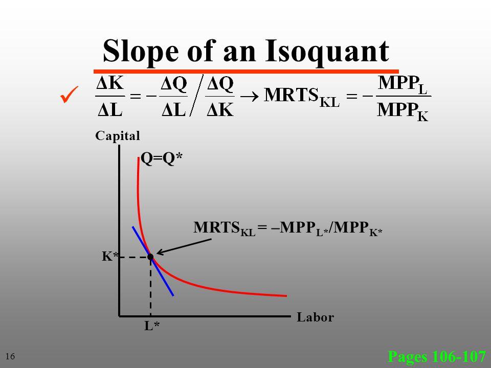 Slope of an Isoquant Pages 106-107 16 Labor Capital Q=Q* L* K* MRTS KL = –MPP L* /MPP K*