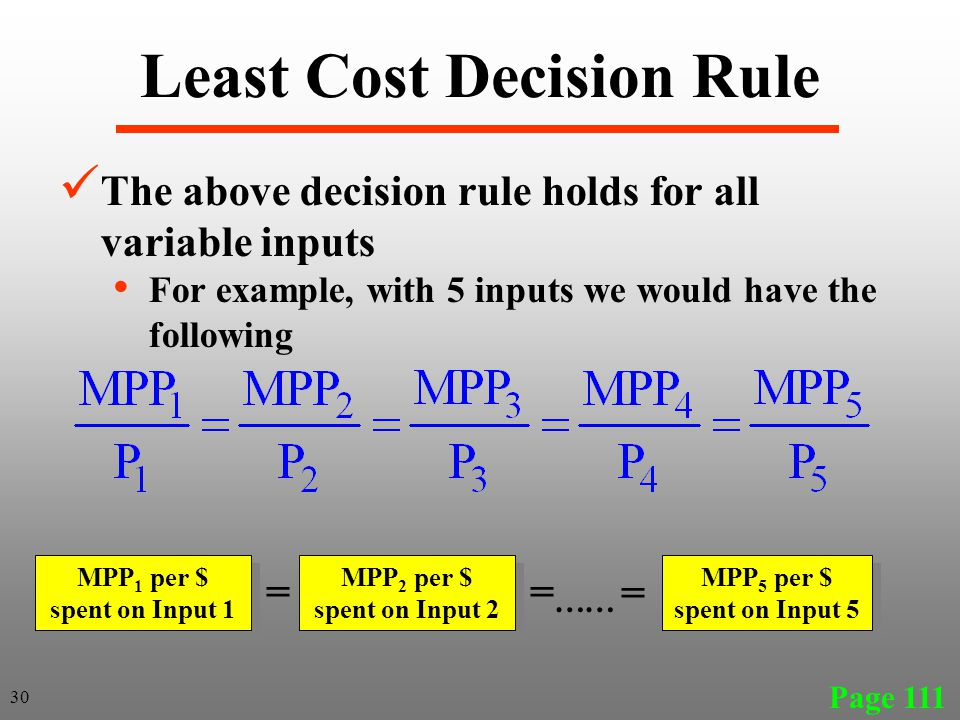 Least Cost Decision Rule Page 111 The above decision rule holds for all variable inputs For example, with 5 inputs we would have the following MPP 1 p