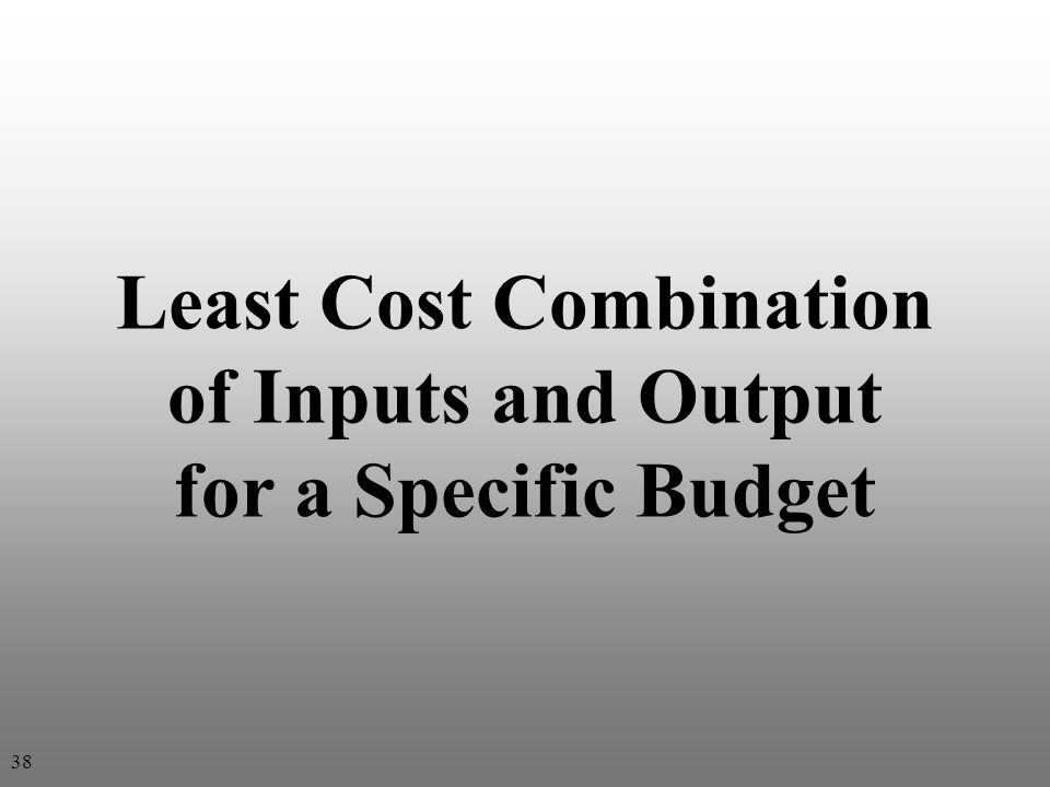 Least Cost Combination of Inputs and Output for a Specific Budget 38