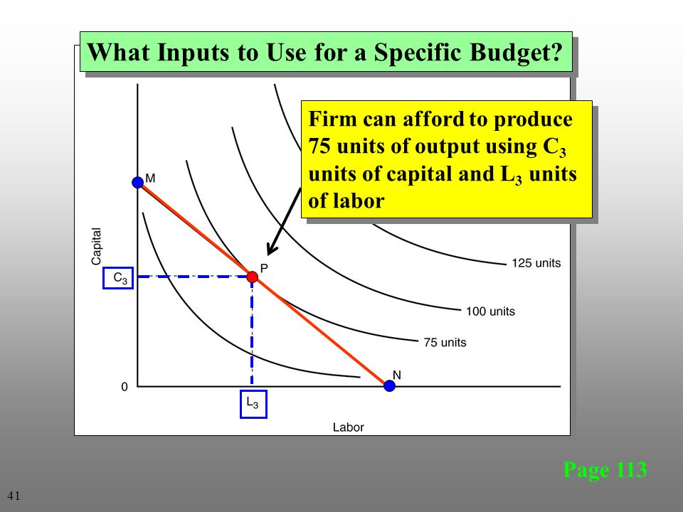 Page 113 What Inputs to Use for a Specific Budget? Firm can afford to produce 75 units of output using C 3 units of capital and L 3 units of labor 41