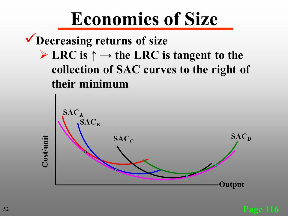 Economies of Size Decreasing returns of size  LRC is ↑ → the LRC is tangent to the collection of SAC curves to the right of their minimum Page 116 SA