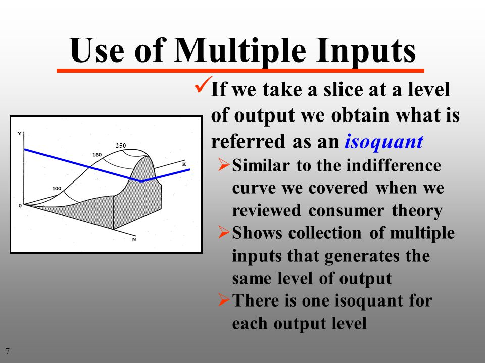 Page 107 Isoquant means equal quantity Two inputs 8 Output is identical along an isoquant and different across isoquants Output is identical along an isoquant and different across isoquants
