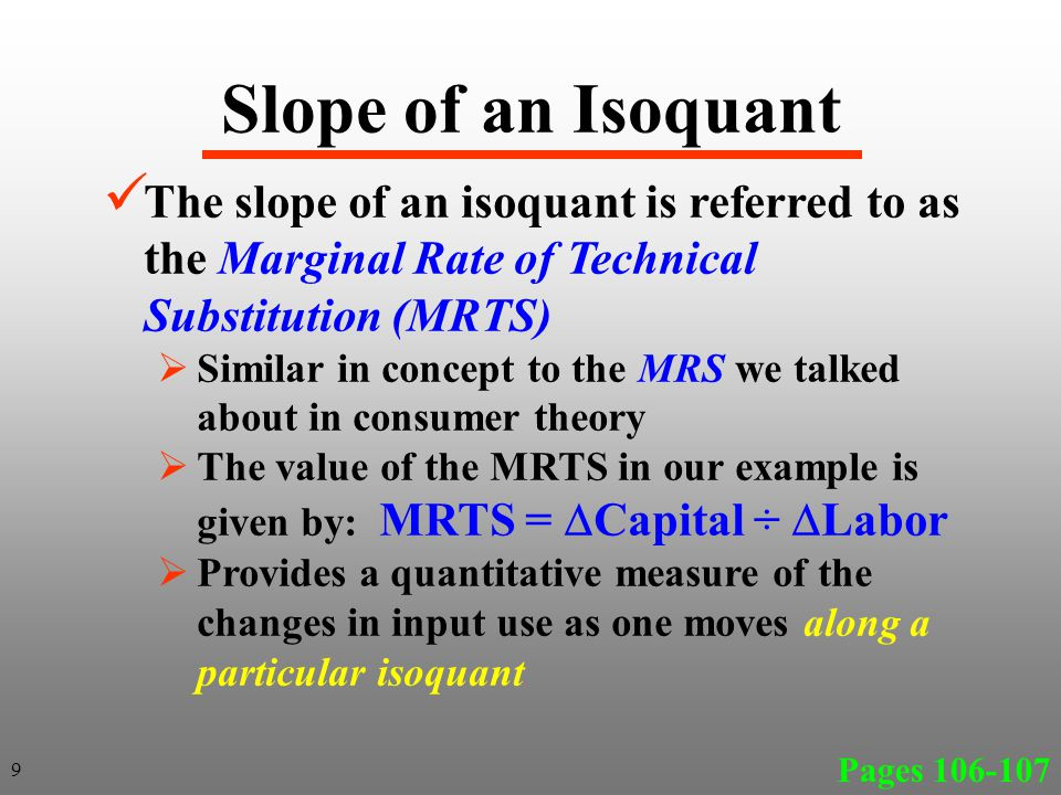 Least Cost Decision Rule Page 111 The above decision rule holds for all variable inputs For example, with 5 inputs we would have the following MPP 1 per $ spent on Input 1 = MPP 2 per $ spent on Input 2 = …… = MPP 5 per $ spent on Input 5 = 30