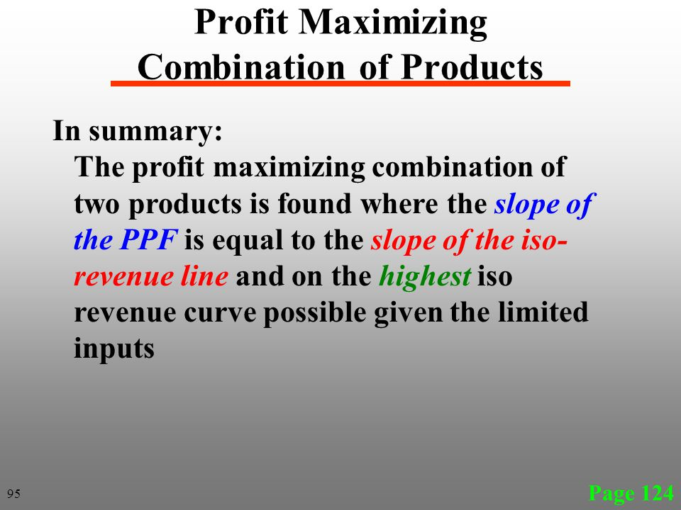 In summary: The profit maximizing combination of two products is found where the slope of the PPF is equal to the slope of the iso- revenue line and o