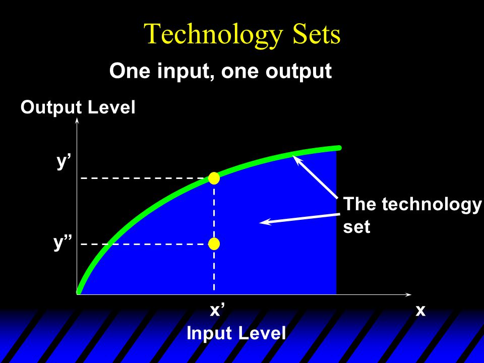 Technology Sets x'x Input Level Output Level y' One input, one output y The technology set