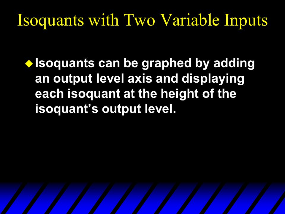 Isoquants with Two Variable Inputs  Isoquants can be graphed by adding an output level axis and displaying each isoquant at the height of the isoquant's output level.
