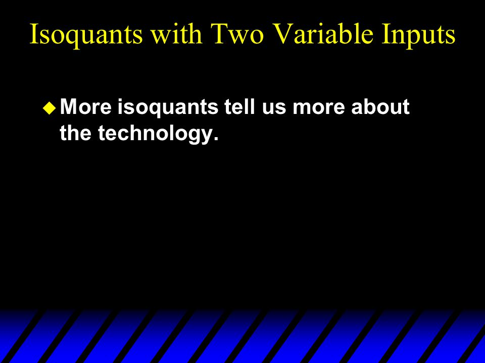 Isoquants with Two Variable Inputs  More isoquants tell us more about the technology.