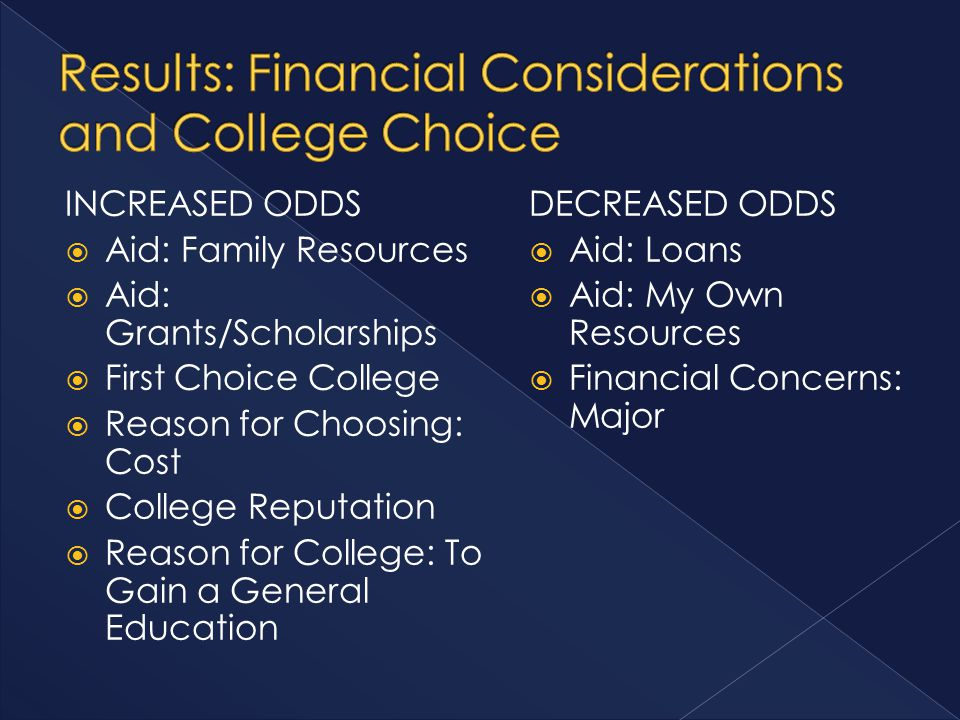 INCREASED ODDS  Aid: Family Resources  Aid: Grants/Scholarships  First Choice College  Reason for Choosing: Cost  College Reputation  Reason for College: To Gain a General Education DECREASED ODDS  Aid: Loans  Aid: My Own Resources  Financial Concerns: Major